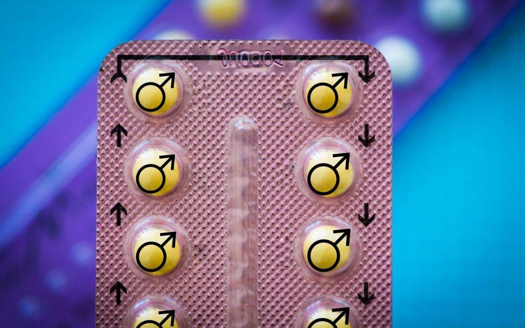 Illustration d'une tablette de pilules. Les pilules sont jaunes et sur chaque pilule, il y a le symbole féminin.
