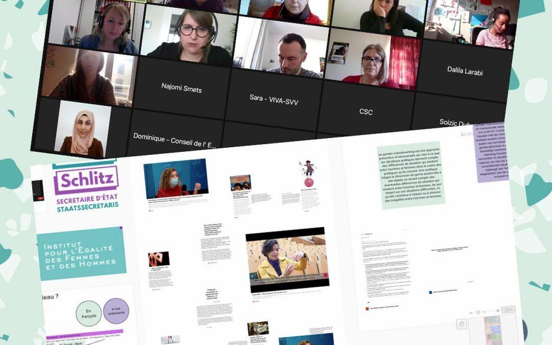 capture d'écran d'une réunion zoom réunissant des associations féministes